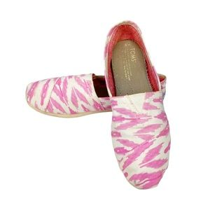 Toms Pink White Shoes Size 6